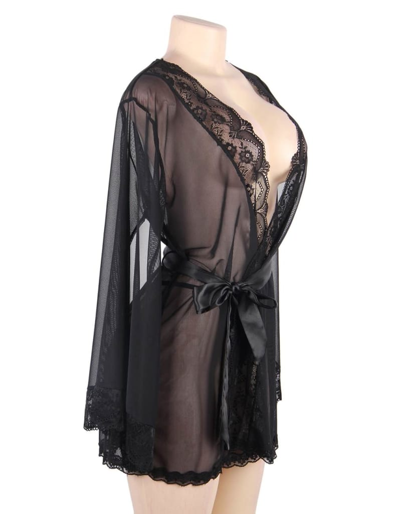 Black Lace Splicing High-end Delicate Perspective Sleepwear