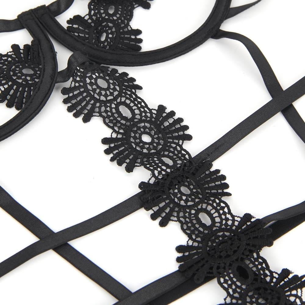 Plus Size Black Delicate Flowers Lace Hollow Out Teddy With