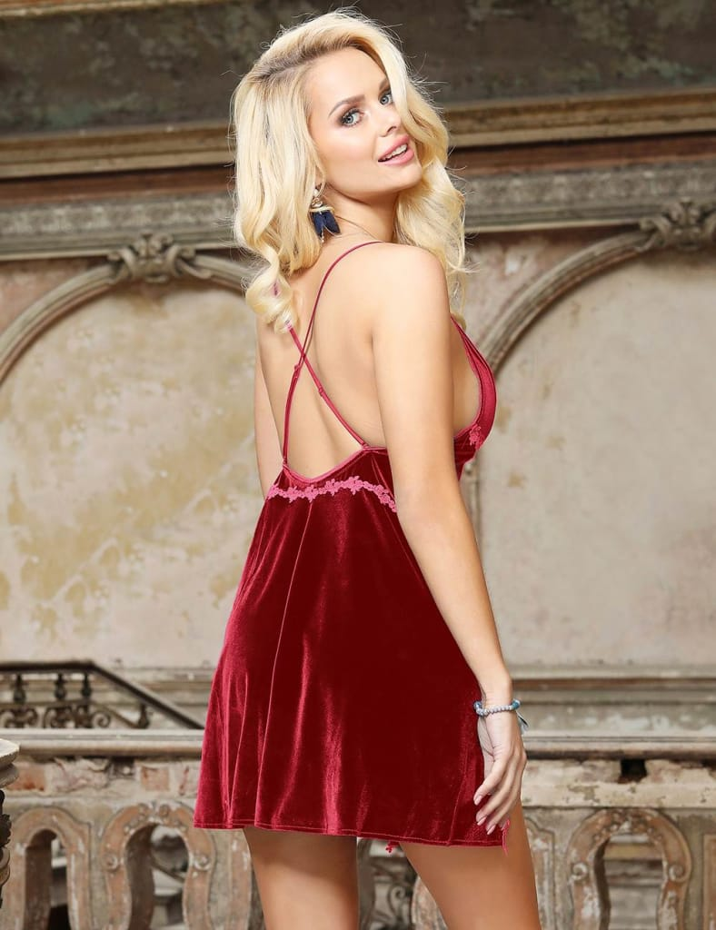 Velour Sexy Sling Delicate Flower Charming Open Back Ladies