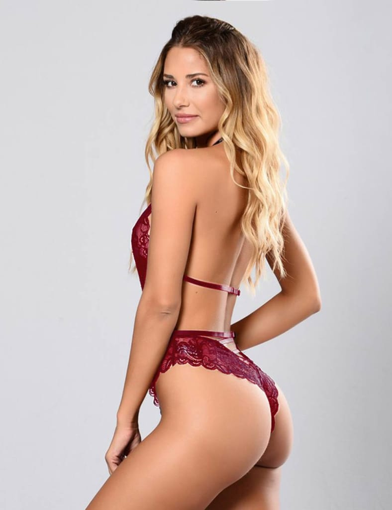 Dark Red High Quality Lace Sexy Hollow-out Conjoined