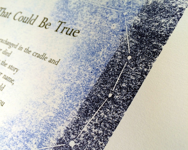 detail of blue ink gradient and constellation on letterpress print