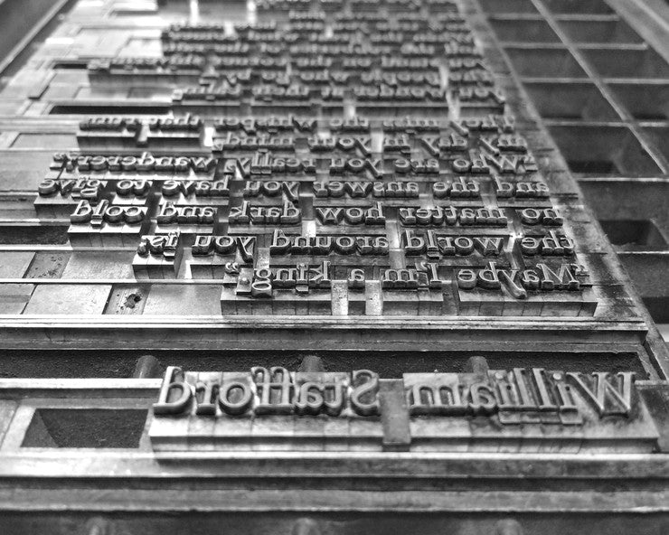 metal type form of William Stafford's name and a poem