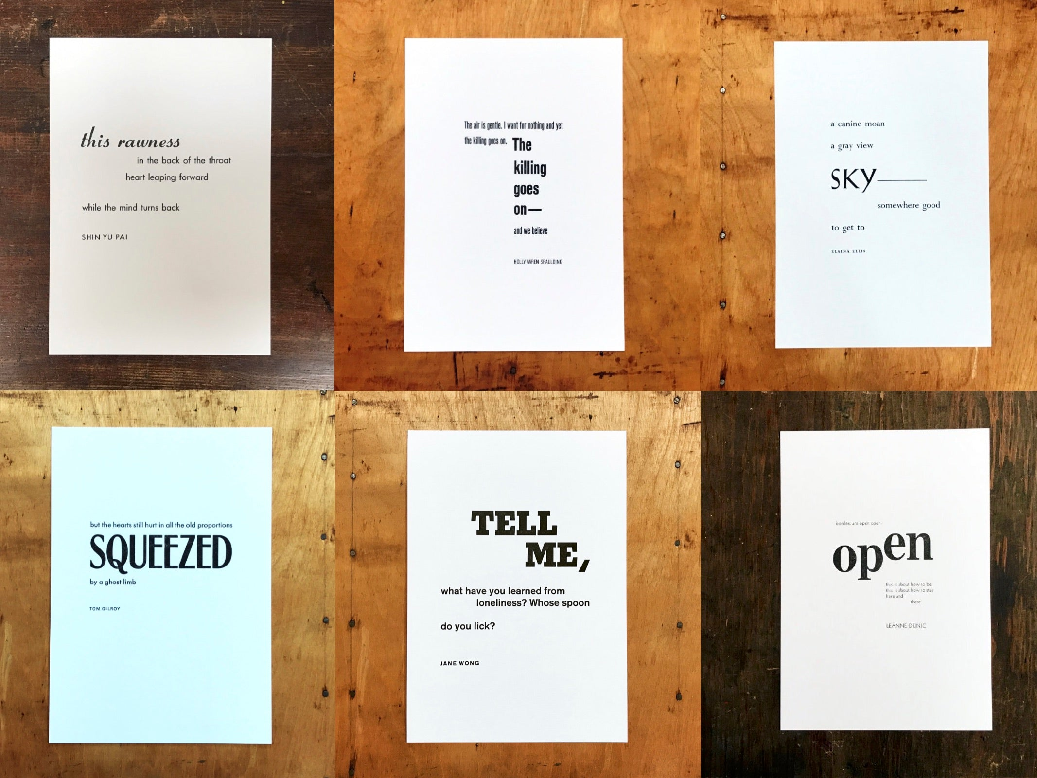 tile of six black and white letterpress poetry prints