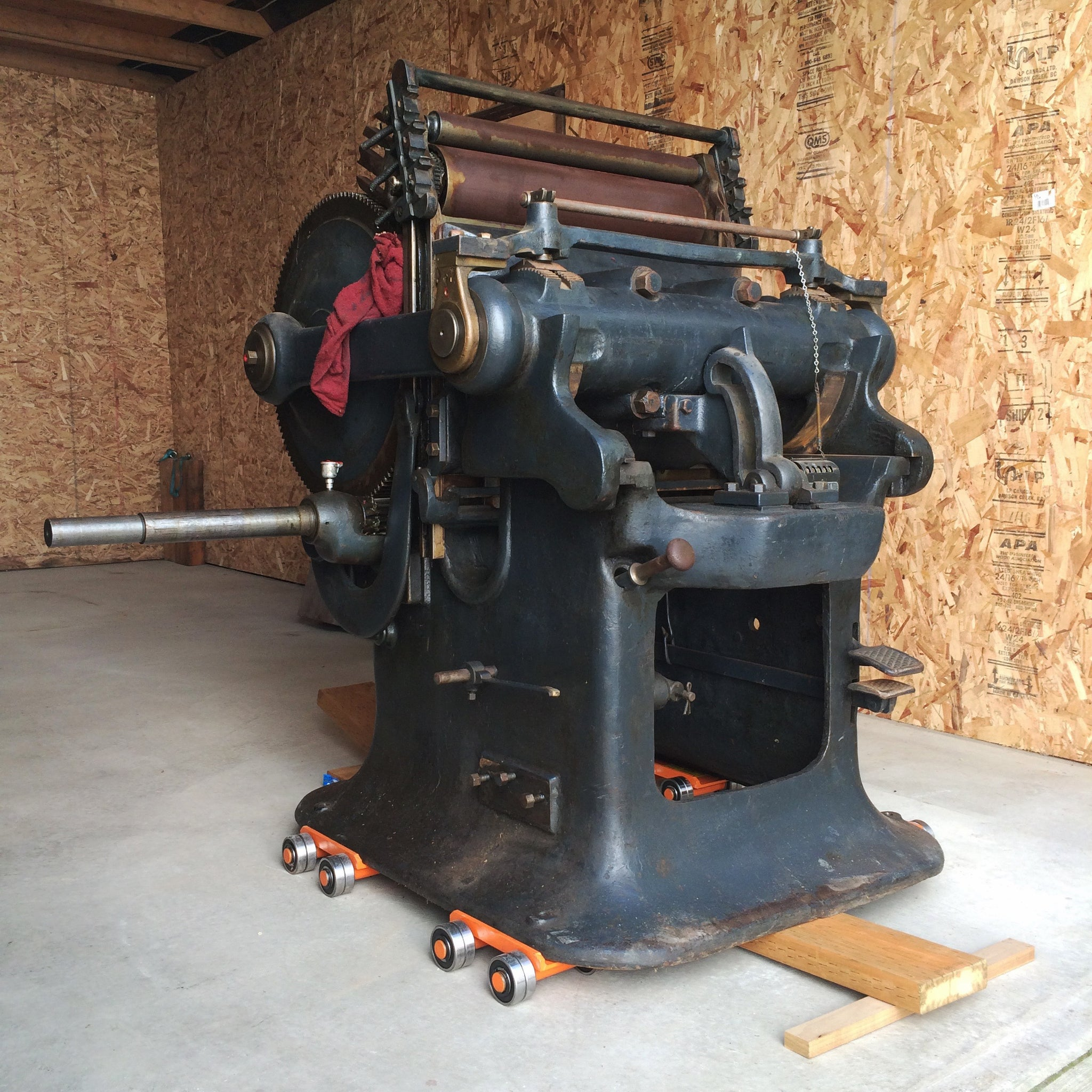 printing press staged for moving