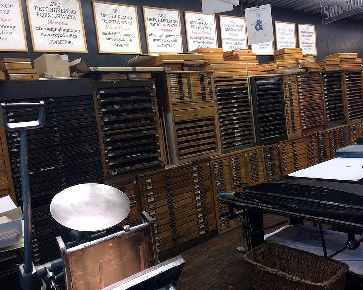type cabinets at the Druckladen in Mainz