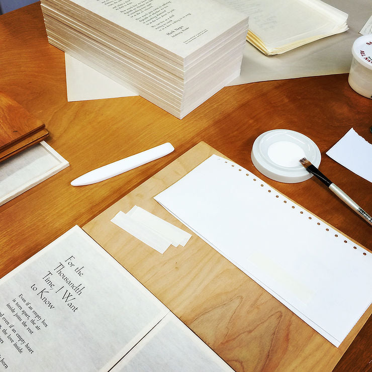 bindery work table with glue