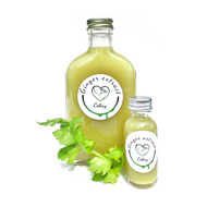 200ml glass bottle of celery ginger extract with 1oz celery ginger shot