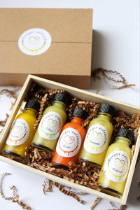 Flavoured fresh immunne ginger extract gift box. 1oz raw honey ginger shots