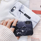 Marble Soft Silicon Ring Stand iPhone Case