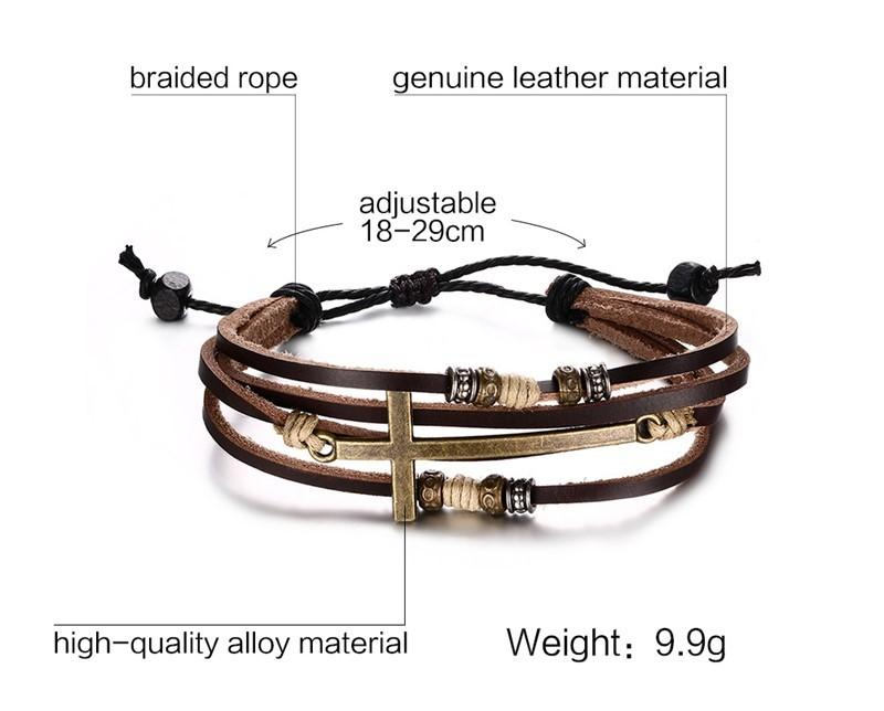 Adjustable Rope Chain Leather Cross Bracelet