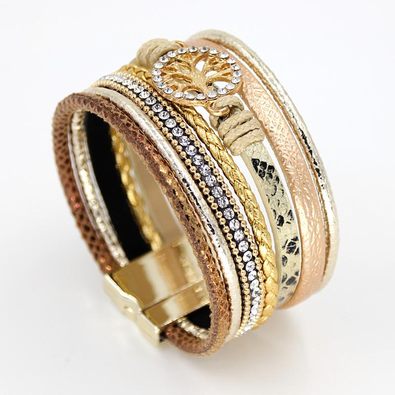 Multi-layer Rhinestone Alloy Bangle Bracelet