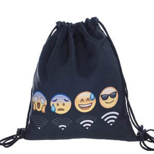 Lightweight Drawstring Emoji Bag