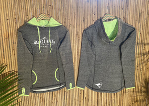 Ladies Pull Over Hoodie - Grey/Lime