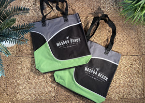 Beach/Utility Bag made with Recycled Yarns- Black/Lime/Grey
