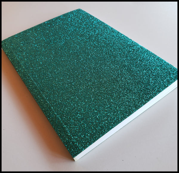 "Teal glitter journal 64 lined pages 4"" x 6""  ADA The Gilded Page Santa Fe"