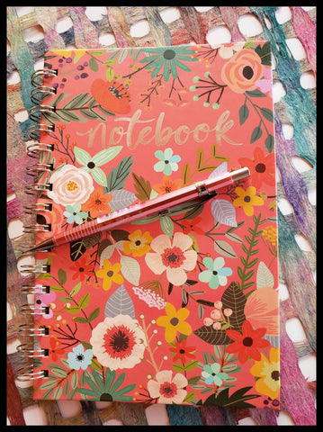 "Floral garden spiral notebook 160 lined pages 5.8"" x 8.3"" ADA The Gilded Page Santa Fe"