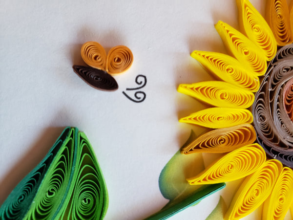 Sunflowers & Bees Birthday Quilling Card