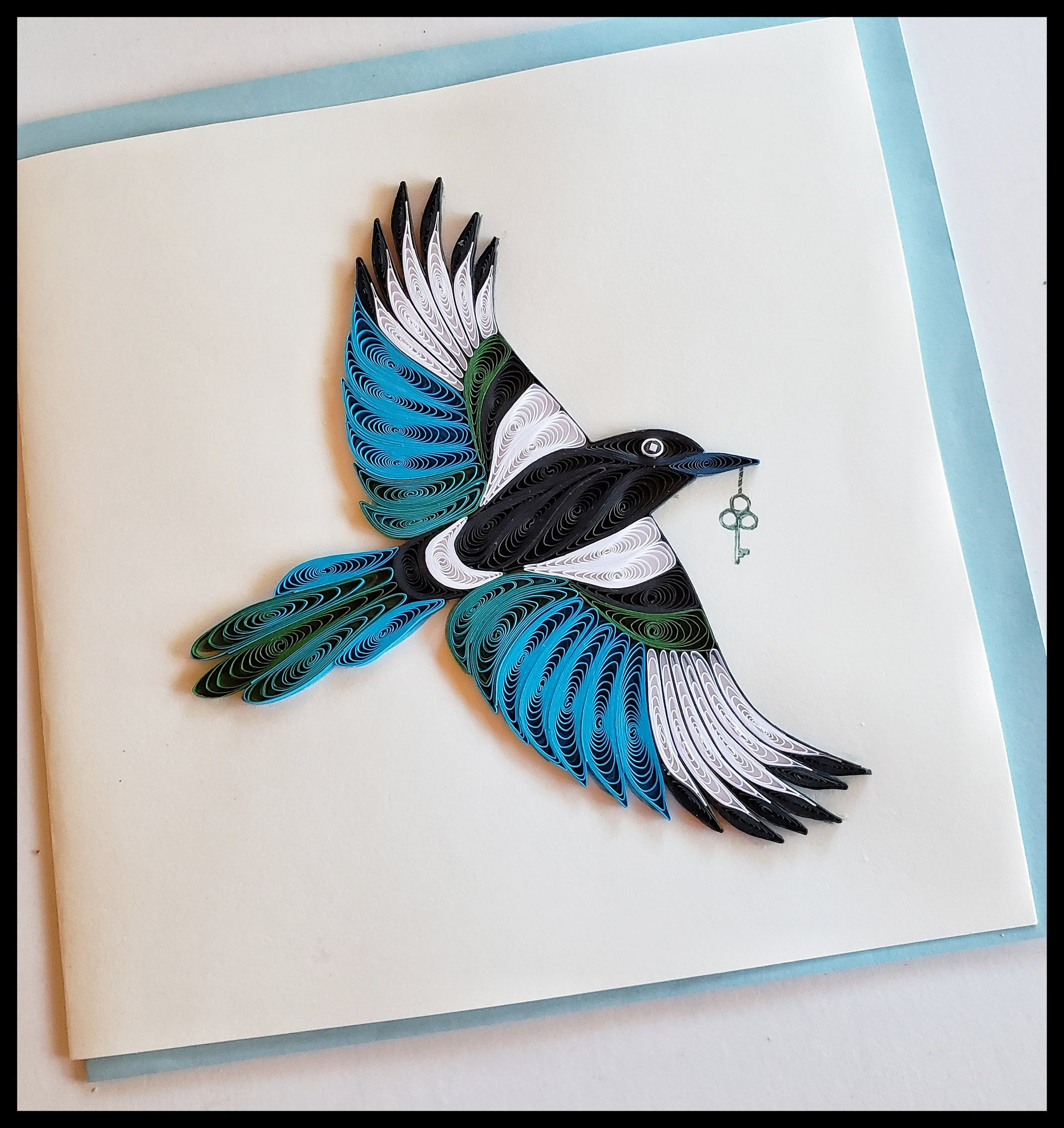 "Black billed Magpie Quilling Card Card with envelope 6.5"" x 6.5"" ADA The Gilded Page Santa Fe New Mexico"