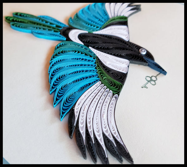 Black-billed Magpie Quilling Card
