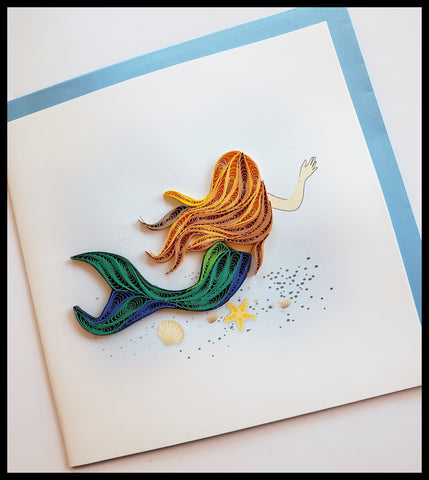 "Mermaid in water near seashells Quilling Card with envelope 6.5"" x 6.5"" ADA The Gilded Page Santa Fe New Mexico"
