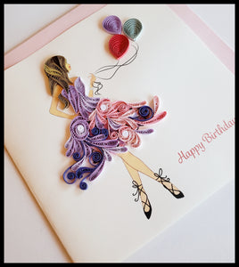 "Ballerina Girl with Balloons Birthday Card with envelope 6.5"" x 6.5"" ADA The Gilded Page Santa Fe NM"