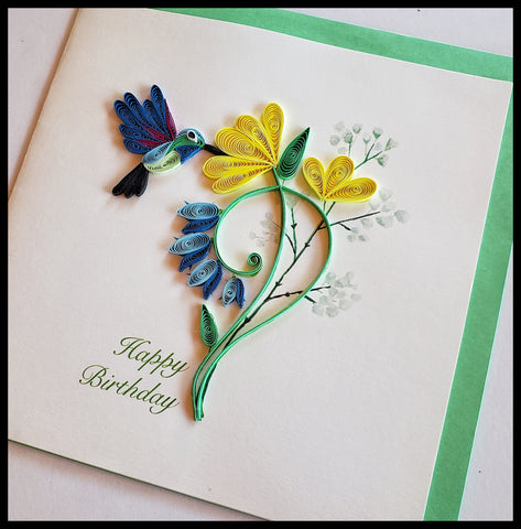 "Blue Hummingbird Yellow Flower Birthday Quilling Card with envelope 6.5"" x 6.5"" ADA The Gilded Page Santa Fe New Mexico"