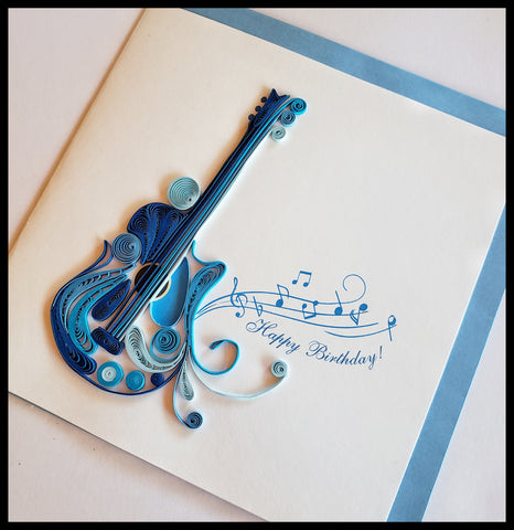 "Happy Birthday Blue Guitar Quilling Card with envelope 6.5"" x 6.5"" ADA Santa Fe New Mexico The Gilded Page"