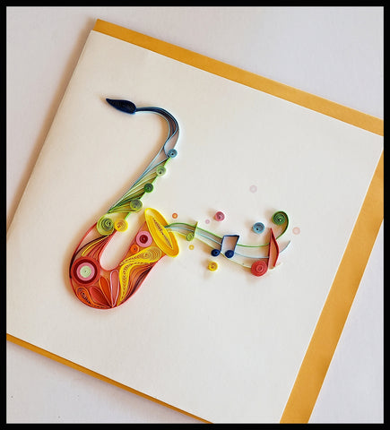 "Saxophone with musical notes Quilling Card with envelope 6.5"" x 6.5"" ADA The Gilded Page Santa Fe New Mexico"