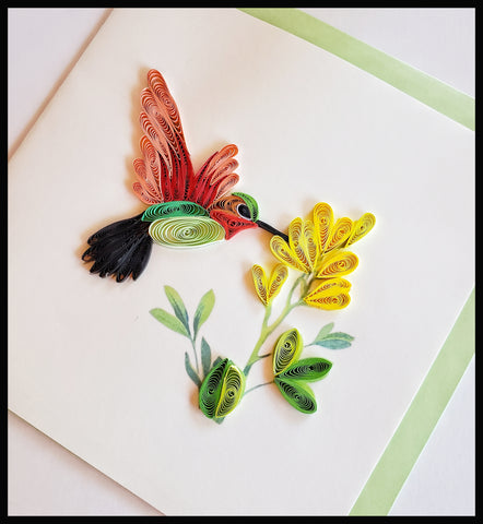 "Green and Red Hummingbird with Yellow flower Quilling Card with envelope 6.5"" x 6.5"" ADA The Gilded Page Santa Fe New Mexico"