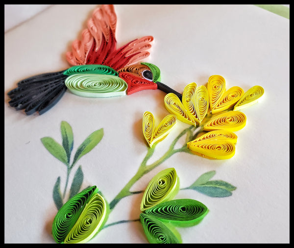 Green and Red Hummingbird with Yellow Flower Quilling Card