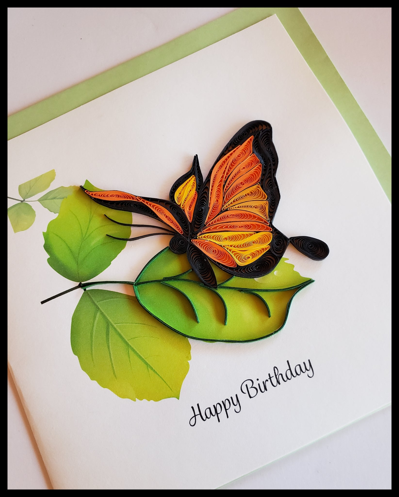 "Orange Butterfly on Leaf Happy Birthday Quilling Card Card with envelope 6.5"" x 6.5"" ADA The Gilded Page Santa Fe New Mexico"