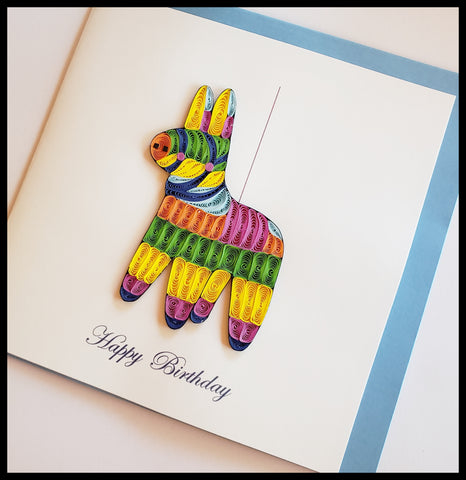 "Pinata Happy Birthday Quilling Card with envelope 6.5"" x 6.5"" ADA The Gilded Page Santa Fe New Mexico"