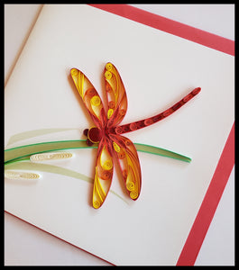 "Red and Yellow Dragonfly on Grass Blade Quilling Card with envelope 6.5"" x 6.5"" ADA The Gilded Page Santa Fe New Mexico"