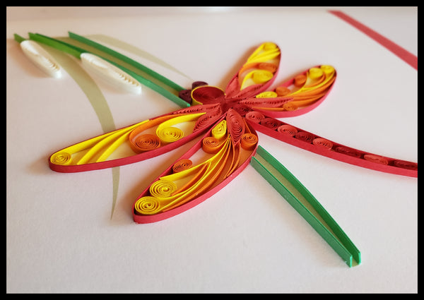 Red & Yellow Dragonfly Quilling Card