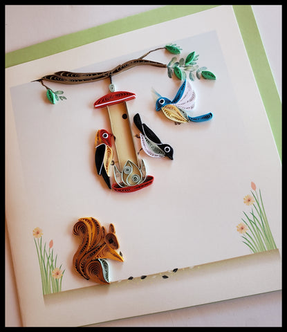 "Bird Feeder and Squirrel Quilling Card with envelope 6.5"" x 6.5"" ADA The Gilded Page Santa Fe New Mexico"