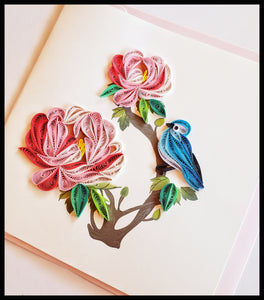 "Blue bird on Peony Quilling Card with envelope 6.5"" x 6.5"" ADA The Gilded Page Santa Fe New Mexico"