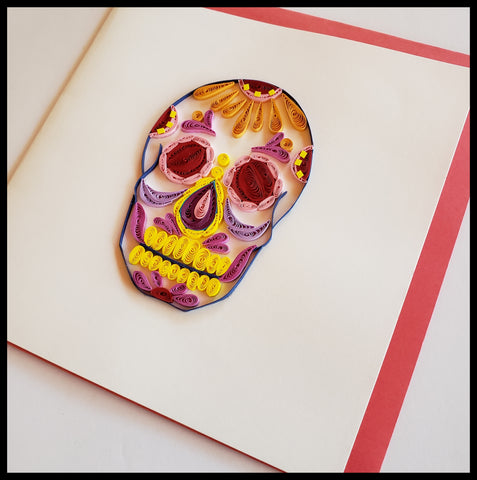 "Pink, yellow and purple Sugar Skull Quilling Card with envelope 6.5"" x 6.5"" ADA The Gilded Page Santa Fe New Mexico"