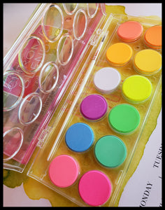 "Neon Watercolor Set 12 blendable watercolors   1 paint brush  4"" x 9"" with watercolor case ADA The Gilded Page New Mexico"