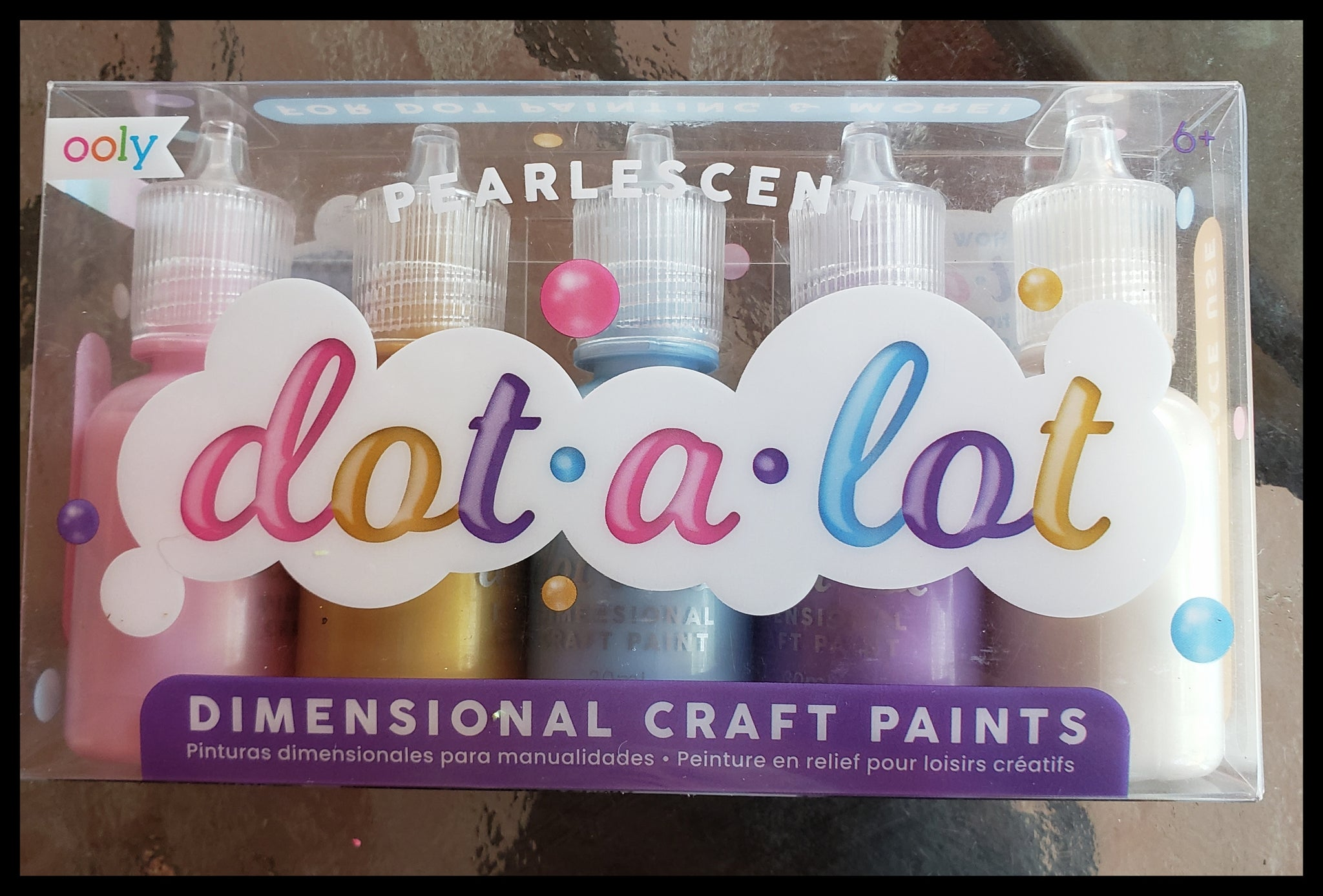"Dot a lot dimensional craft paints 5 pearlescent colors   Dimensional craft paints  Use on black & white paper, wood, fabric, glass, ceramic & more!  3.5"" x 6 in box ADA The Gilded Page Santa Fe New Mexico"