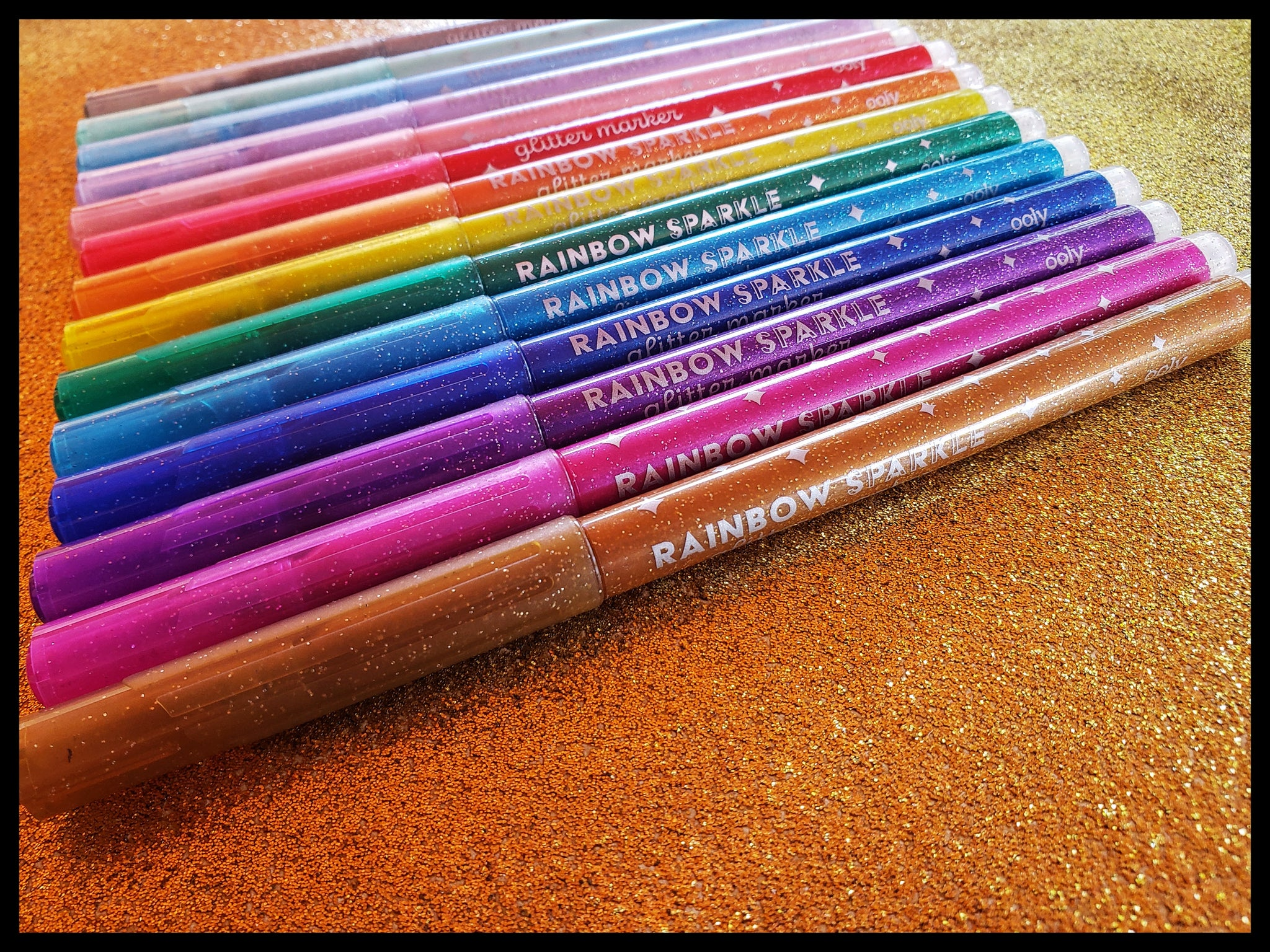 "Rainbow 15 Markers total, 5 pastel, 10 classic colors   Rounded Marker Tip  Non-toxic   Coloring, Decorating, Outlining, Glittery art and more!  6"" x 6"" in box ADA  The Gilded Page Santa Fe New Mexico"
