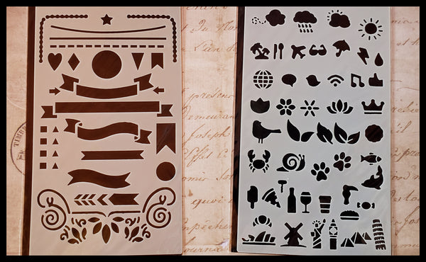 "12 stencil sheets with 300 plus designs. Each sheet 4""x7"" includes outlines, alphabets, flourishes and symbols ADA The Gilded Page Santa Fe"