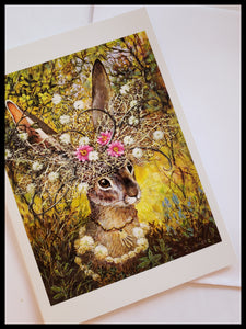 Rabbit With Flower Headdress Card