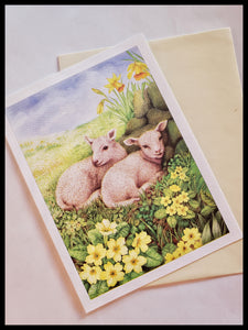 Two Cumbrian Lambs Card