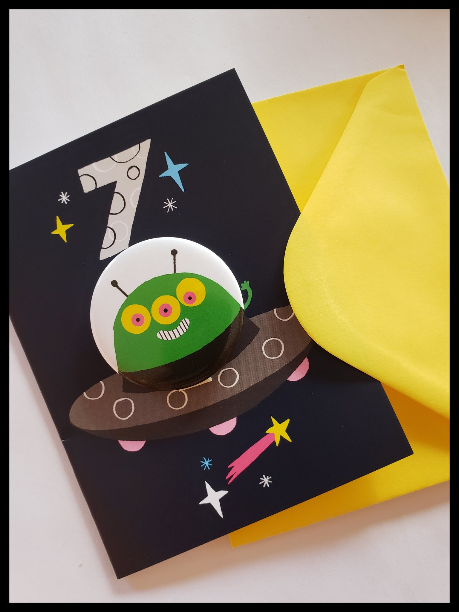 Alien 7 Birthday Button Card