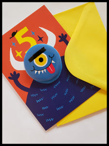 Blue Monster 5 Birthday Button