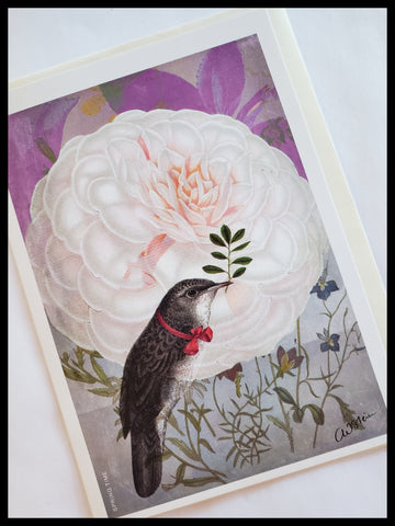 Bird on White Rose Card