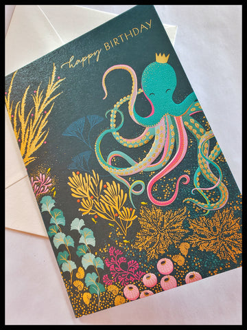 Octopus Under the Sea Happy Birthday Card