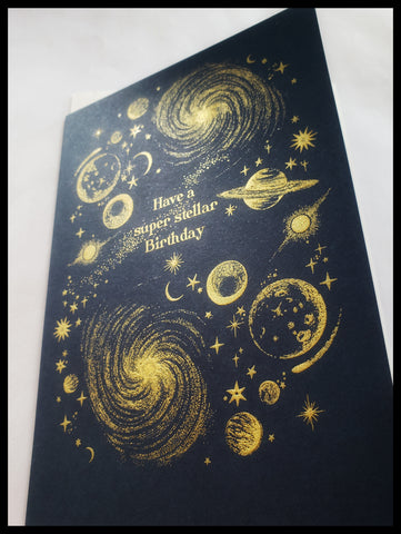 Navy Blue And Gold Cosmic Birthday Card