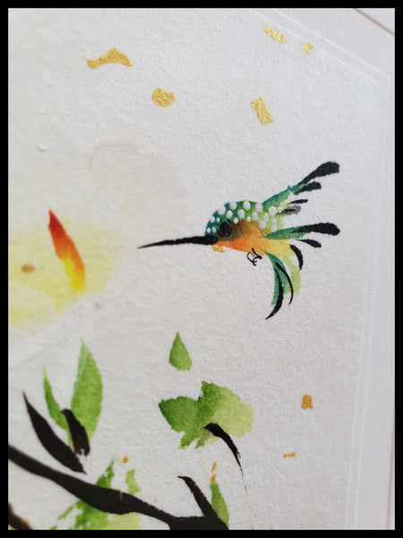 Hand Painted Hummingbird Card