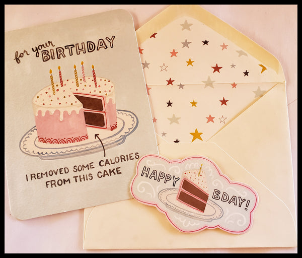 Birthday Cake Birthday Card with Matching Sticker